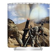 U.s. Army Soldiers Firing A 120mm Shower Curtain