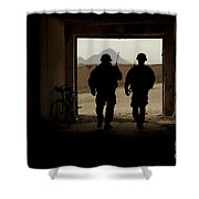 U.s. Army Soldiers Patrol A Village Shower Curtain