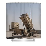 U.s. Army Soldiers Power-up A Mim-104 Shower Curtain