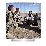 U.s. Army Soldiers Speak With Elders Shower Curtain