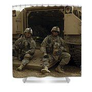 U.s. Army Soldiers Waiting At Patrol Shower Curtain