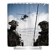 U.s. Army Soldiers Watch The Arrival Shower Curtain