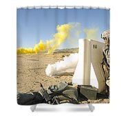 U.s. Army Specialist Calls In For An Shower Curtain