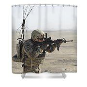 U.s. Army Specialist Scans His Area Shower Curtain
