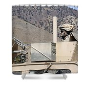 U.s. Army Specialist Scans His Sector Shower Curtain
