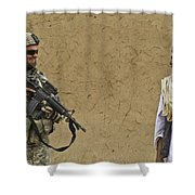 U.s. Army Specialist Talks To An Afghan Shower Curtain