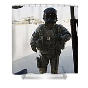 U.s. Army Uh-60l Loadmaster Confirms Shower Curtain