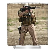 U.s. Contractor Firing A M4 Carbine Shower Curtain