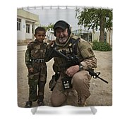 U.s. Contractor Poses For A Picture Shower Curtain