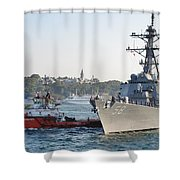 Us Cruiser Docking In Istanbul Shower Curtain