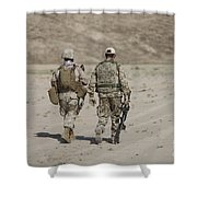 U.s. Marine And German Soldier Walk Shower Curtain