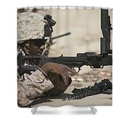 U.s. Marine Clears The Feed Tray Shower Curtain