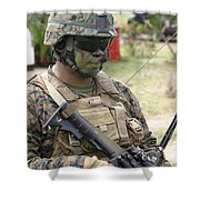 U.s. Marine Communicates Via Radio Shower Curtain