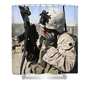 U.s. Marine Communicates With Fellow Shower Curtain