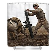 U.s. Marine Drops A Mortar Round Shower Curtain