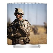 U.s. Marine During A Security Patrol Shower Curtain