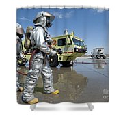 U.s. Marine Firefighters Stand Ready Shower Curtain