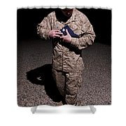 U.s. Marine Holding The American Flag Shower Curtain