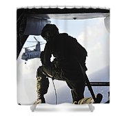 U.s. Marine Looks Out The Back Shower Curtain