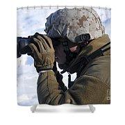 U.s. Marine Looks Shower Curtain