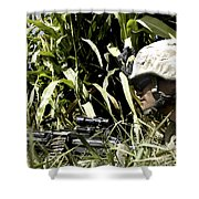 U.s. Marine Maintains Security Shower Curtain