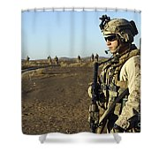 U.s. Marine Posts Security Shower Curtain