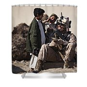 U.s. Marine Practices Pashto Shower Curtain