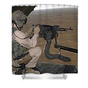 U.s. Marine Test Firing An M240 Heavy Shower Curtain