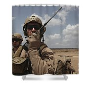 U.s. Marine Uses A Radio In Djibouti Shower Curtain by Stocktrek Images