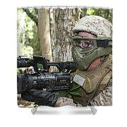 U.s. Marine Videotapes Combat Exercises Shower Curtain