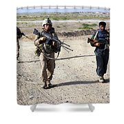 U.s. Marines And Afghan National Police Shower Curtain