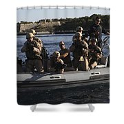 U.s. Marines Approach A Suspect Vessel Shower Curtain