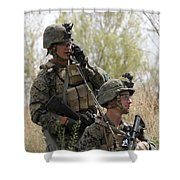 U.s. Marines Communicate Shower Curtain