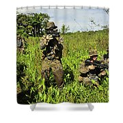 U.s. Marines Guard An Extraction Point Shower Curtain