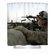 U.s. Marines Observe The Movement Shower Curtain by Stocktrek Images