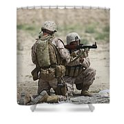 U.s. Marines Prepare A Fragmentation Shower Curtain