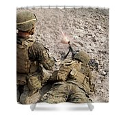 U.s. Marines Provide Suppressive Fire Shower Curtain