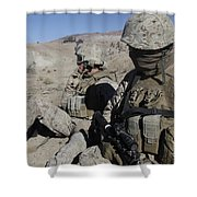 U.s. Marines Take A Break Shower Curtain