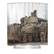U.s. Marines Talk With A British Shower Curtain by Stocktrek Images