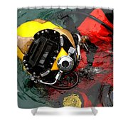 U.s. Navy Diver Is Lowered Shower Curtain by Stocktrek Images