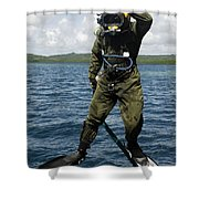 U.s. Navy Diver Jumps Off A Dive Shower Curtain