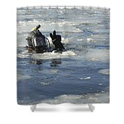 U.s. Navy Diver Signals He Is Okay Shower Curtain
