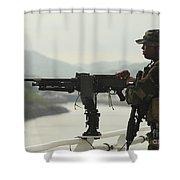 U.s. Navy Petty Officer Stands Watch Shower Curtain