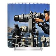 U.s. Navy Sailors Observe The Coastline Shower Curtain