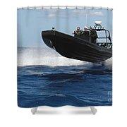 U.s. Navy Sailors Operate A Nine-meter Shower Curtain