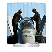 U.s. Navy Sailors Wipe Down The Canopy Shower Curtain