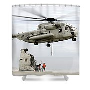 U.s. Sailors Assist A Ch-53d Sea Shower Curtain