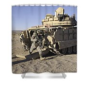 U.s. Soldiers Exit From An M2 Bradley Shower Curtain