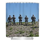 U.s. Soldiers Looking Over The Side Shower Curtain