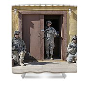U.s. Soldiers On Guard At Fort Irwin Shower Curtain